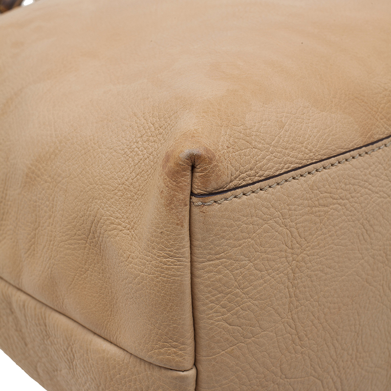 Gucci Beige Leather Medium Bamboo Shopper Tote