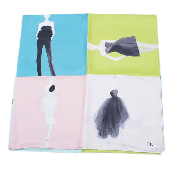 Dior Color Block Printed Square Scarf