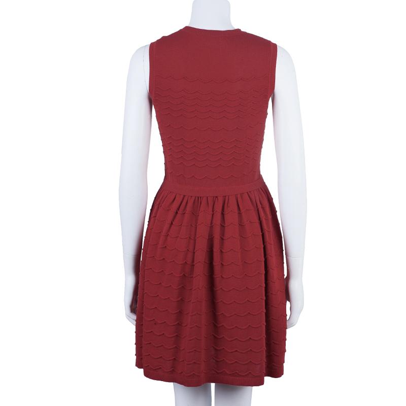 RED Valentino Red Drop Waist Knit Dress S