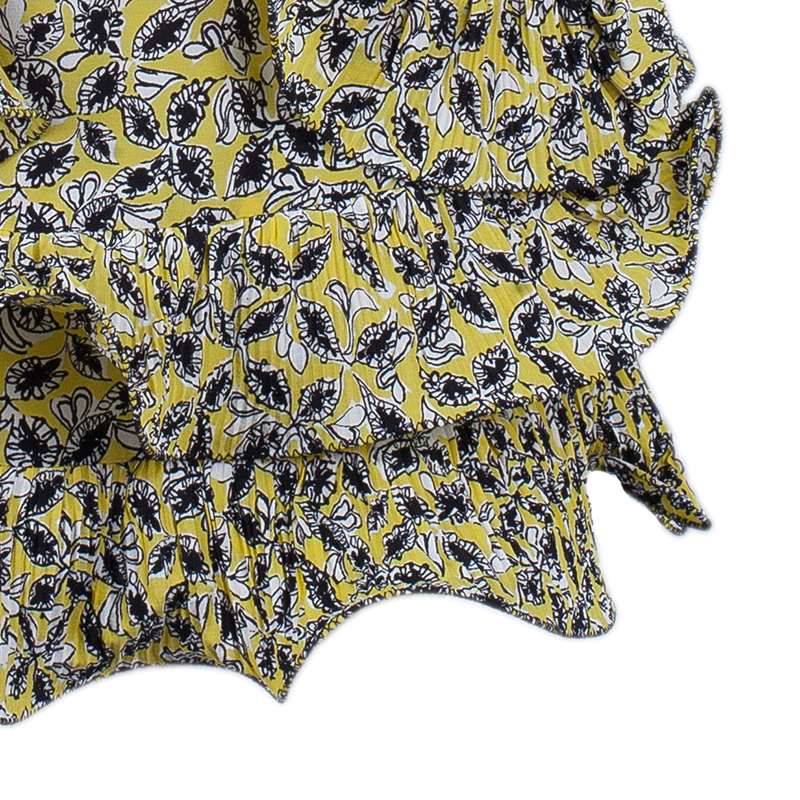 Marni Yellow Ruffle Print Skirt M