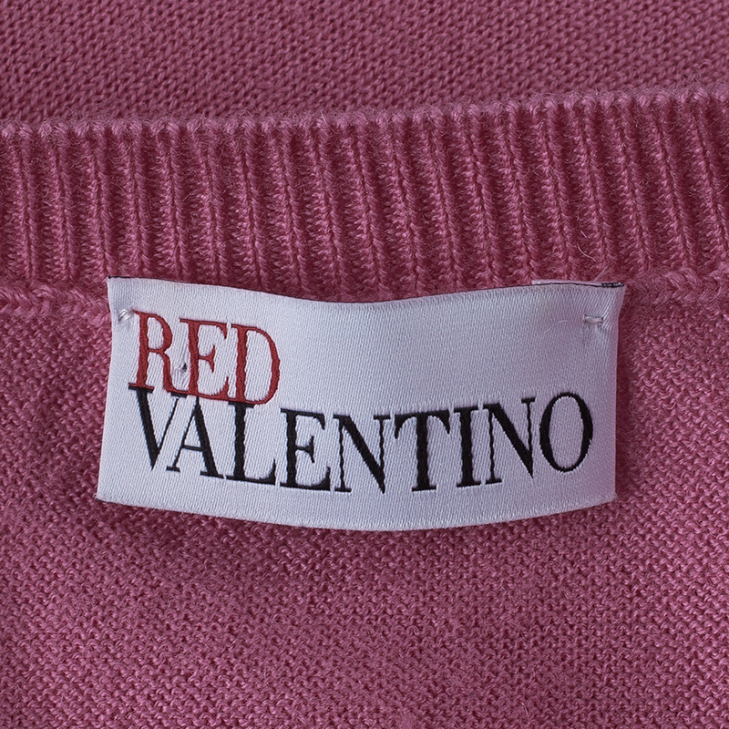 RED Valentino Pink Bow Button Down Cardigan L
