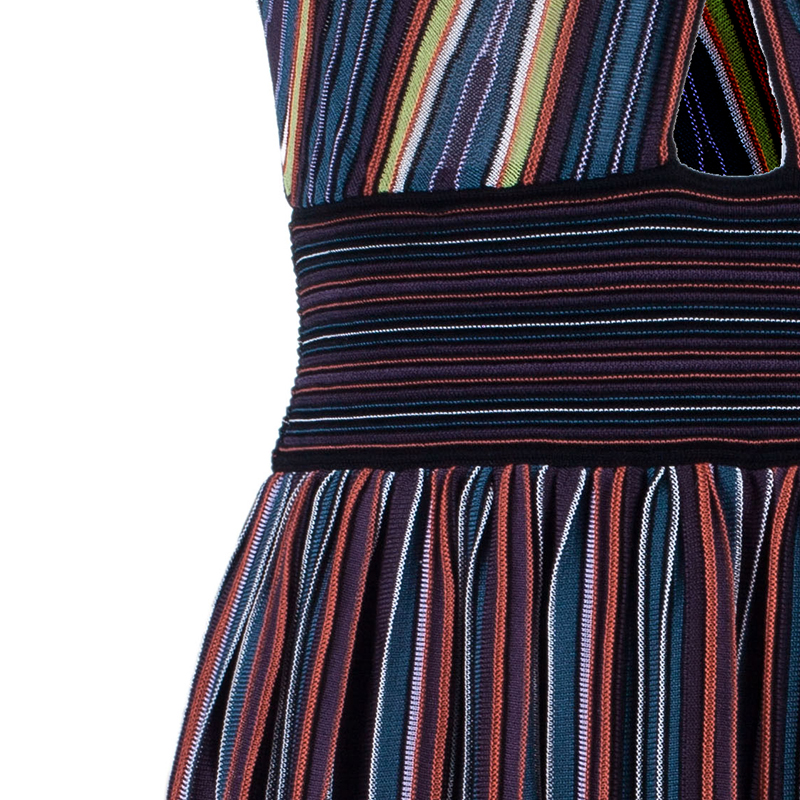 M Missoni Criss-Cross Short Sleeve Pleated Multicolor Dress M