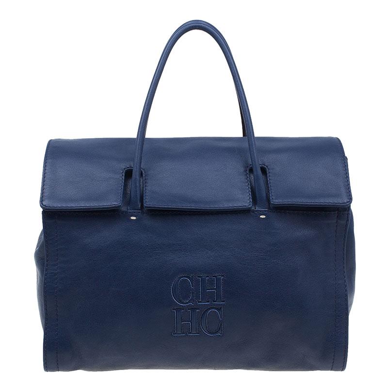 CH Carolina Herrera Blue Leather Tote