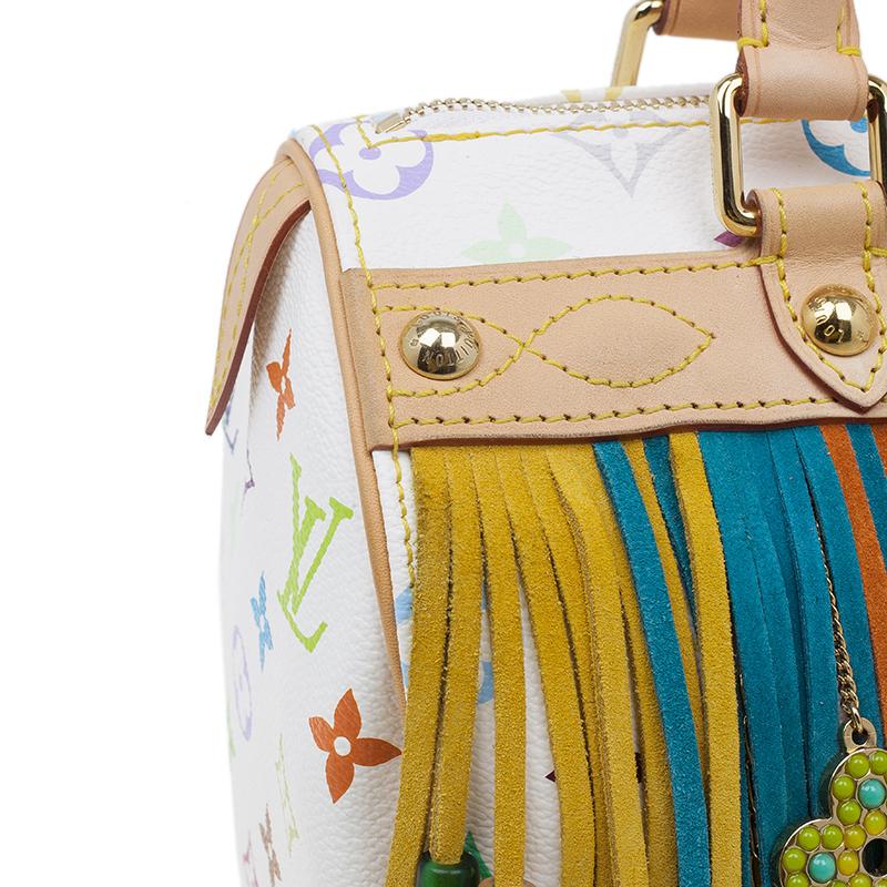 Louis Vuitton White Monogram Multicolore Limited Edition Fringe Speedy 25