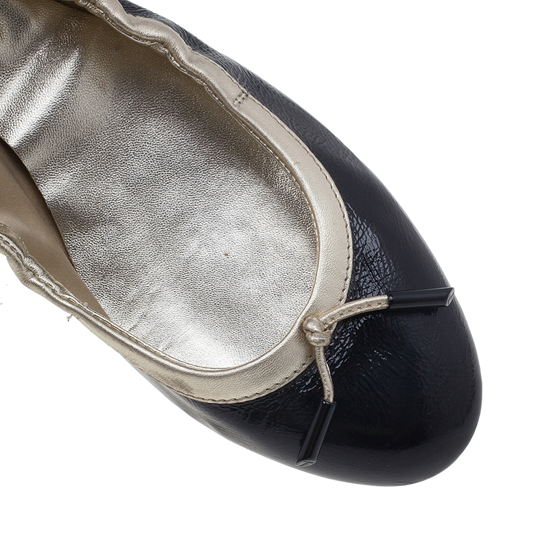 Tod's Black and Gold Leather Dee Ballet Flats Size 38