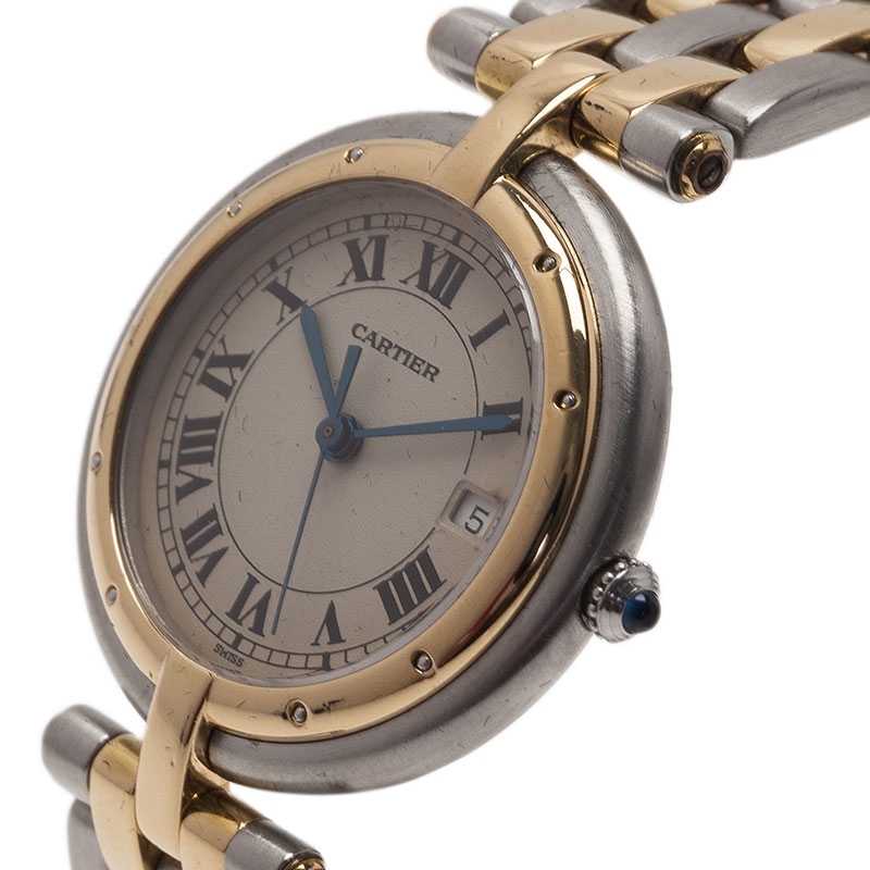 Cartier Ivory Stainless Steel and Yellow Gold Panthere Women's Wristwatch 30MM