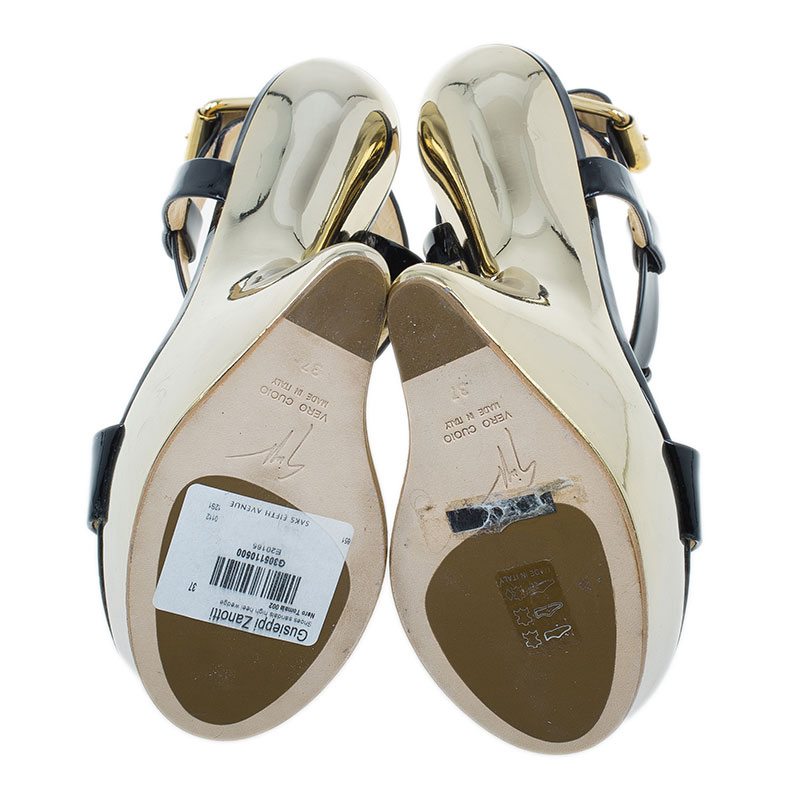 Giuseppe Zanotti Black Patent T Strap Platform Wedge Sandals Size 37