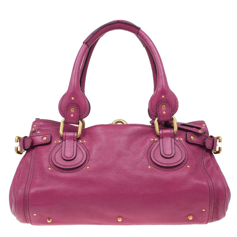Chloe Dark Fuchsia Leather Medium Paddington Satchel Bag