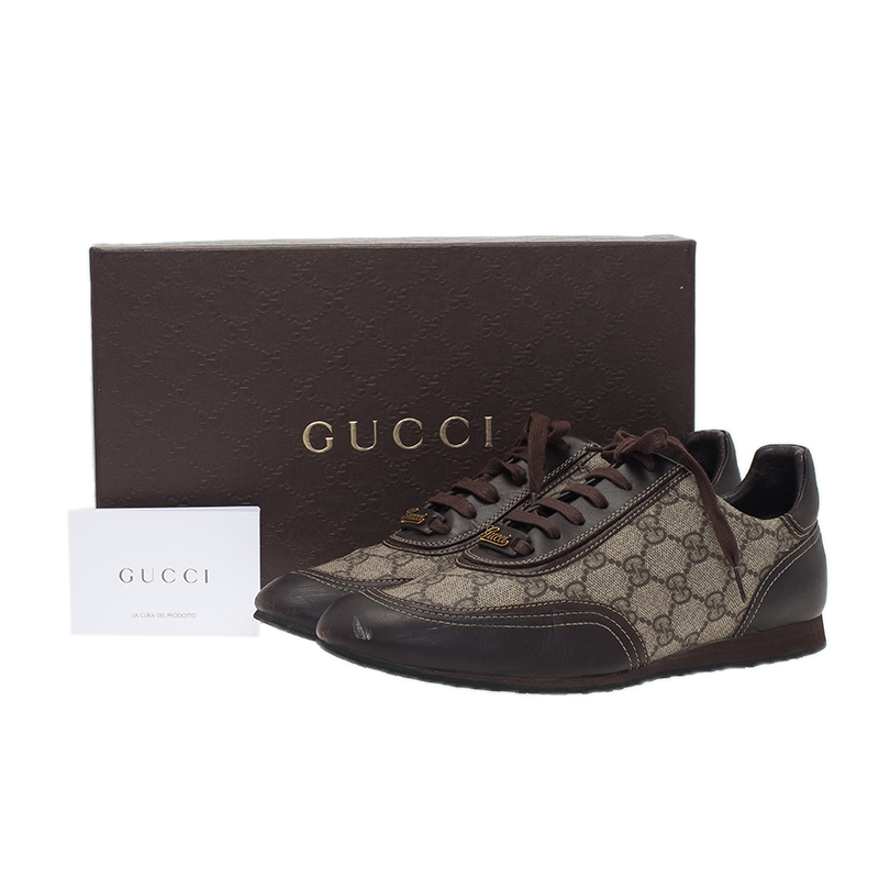 Gucci Beige Guccissima Canvas and Leather Sneakers Size 39
