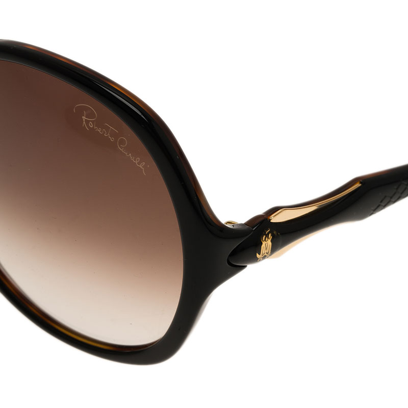 Roberto Cavalli Dark Brown Bougainvillea Square Sunglasses