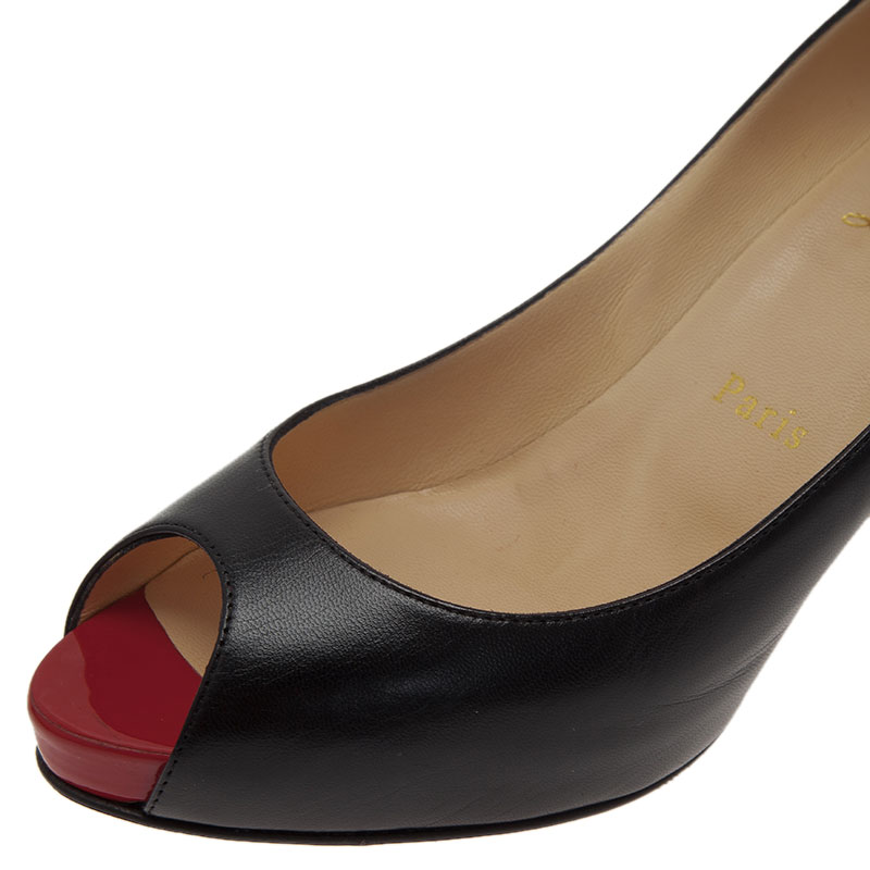 Christian Louboutin Black Leather Very Prive Peep Toe Pumps Size 38.5