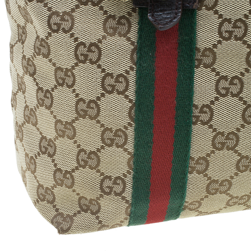 Gucci Beige Canvas Leather GG Jolicoeur Medium Tote Bag