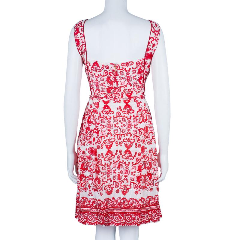 CH Carolina Herrera Red White Floral Dress L