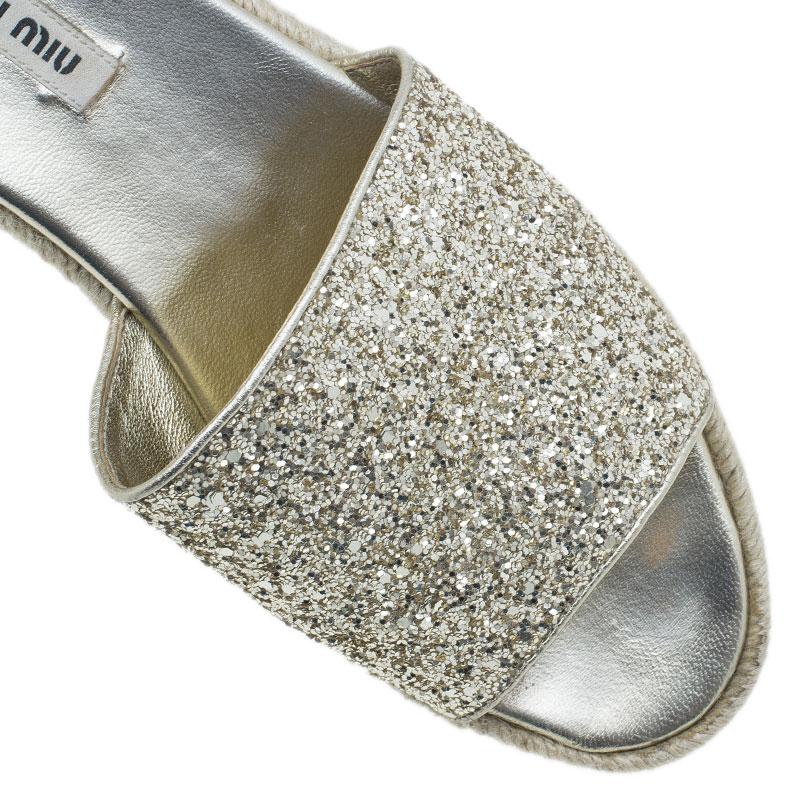 Miu Miu Gold Glitter Espadrille Slides Size 40