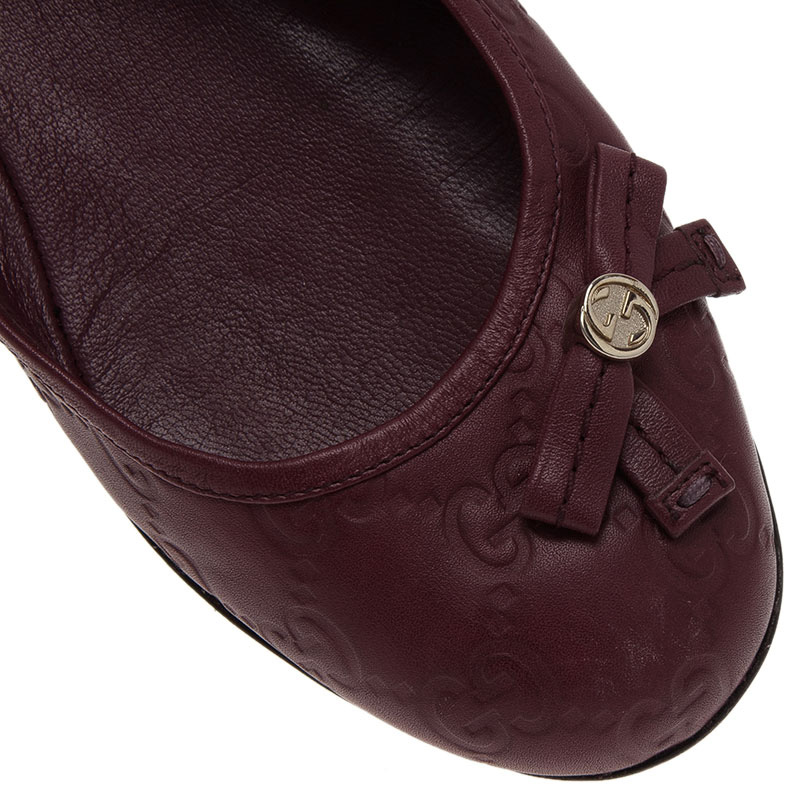 Gucci Purple Guccissima Leather Bow Detail Ballet Flats Size 36.5