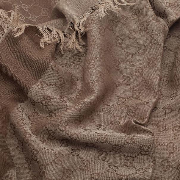 Gucci Beige GG Cotton and Silk Square Scarf
