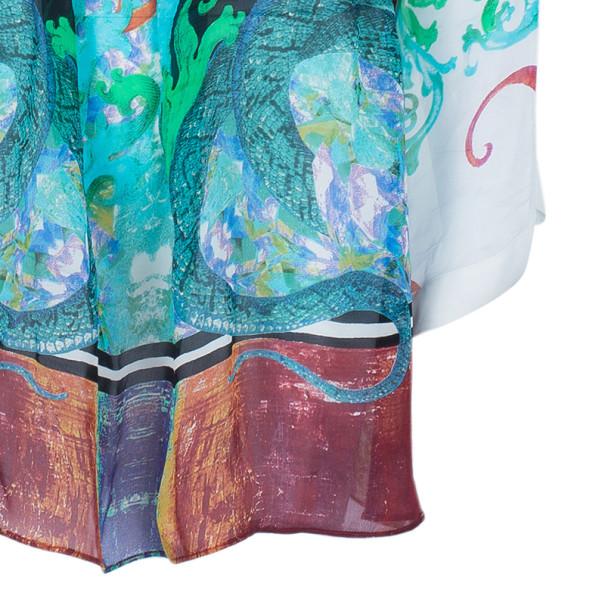 Roberto Cavalli Multiprint Oversized Silk Top S