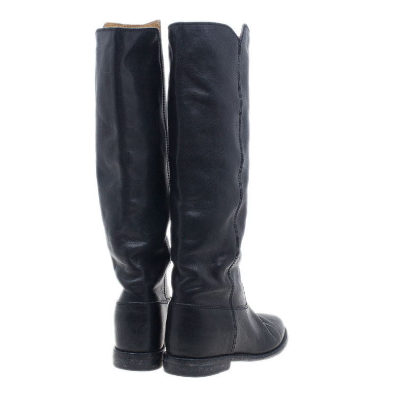 Isabel Marant Black Leather Chess Knee Boots Size 37