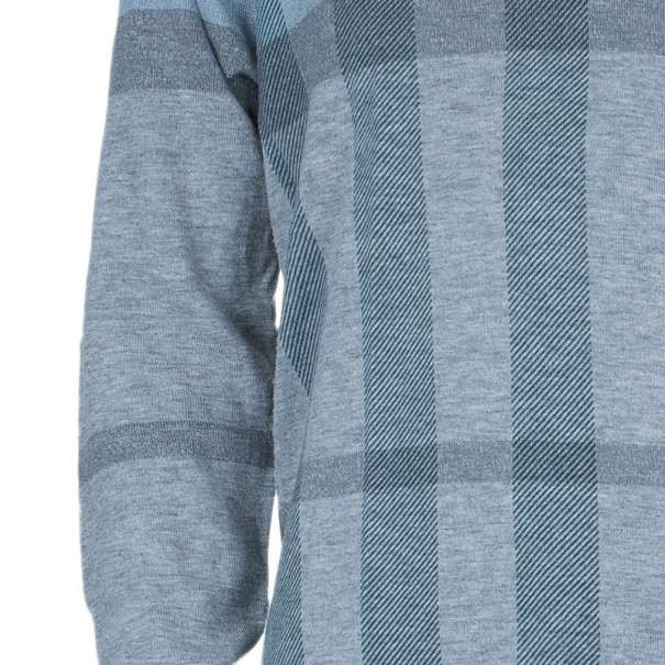 Burberry Men's V-Neck Check Knit Sweater L