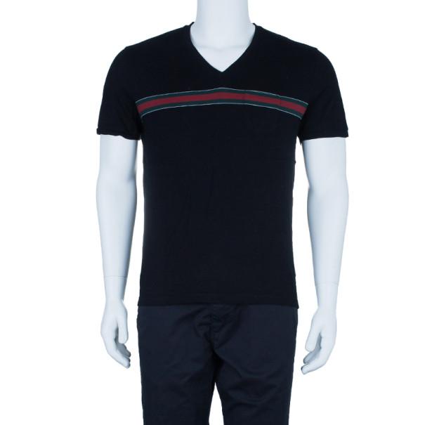 Gucci Men's Black Stripe Detail V-Neck T-Shirt XL