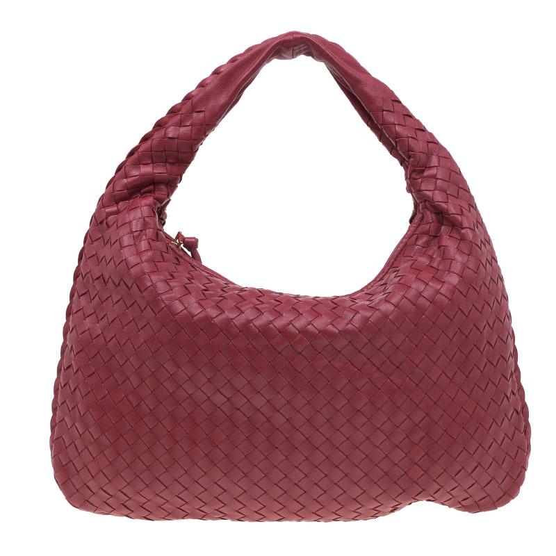 Bottega Veneta Red Leather Small Intrecciato Nappa Hobo