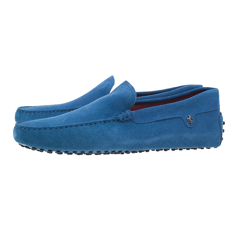 Tod's for Ferrari Blue Suede Limited Edition Gommino Loafers Size 43