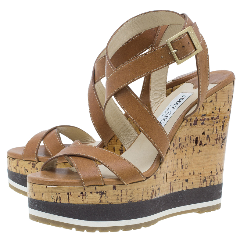 Jimmy Choo Brown Leather Criss Cross Ankle Wrap Wedges Size 38