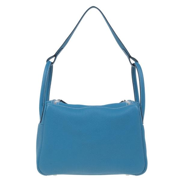 Hermes Blue Clemence Leather Lindy Bag 30