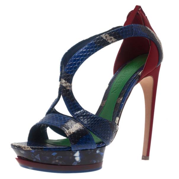 Alexander McQueen Multicolor Python Armadillo Platform Sandals Size 40