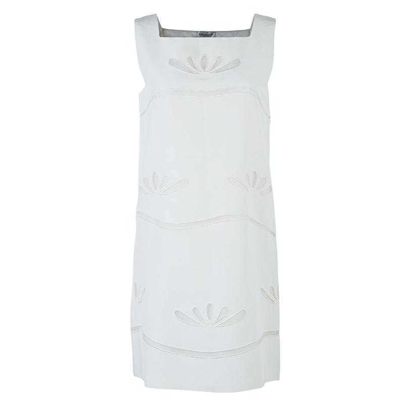 Philosophy di Alberta Ferretti White Embroidered Sleeveless Dress S