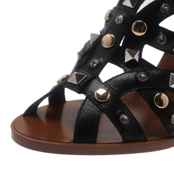 Dolce and Gabbana Black Studded Leather Sandals Size 38