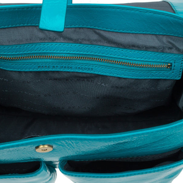 Marc by Marc Jacobs Turquoise Glazed Leather Large Top Handle Werdie Satchel