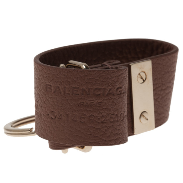 Balenciaga Beige Leather Tube Key Ring