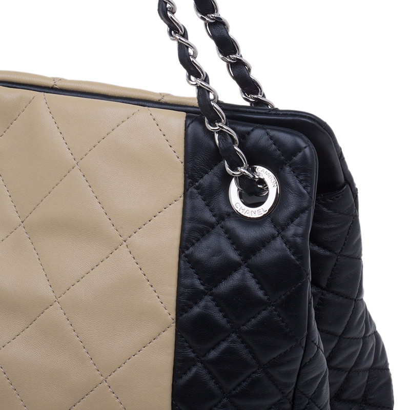 Chanel Beige/black Lambskin Leather Shopping Tote Bag