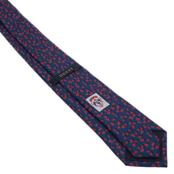 Gucci Blue Heart Print Silk Tie