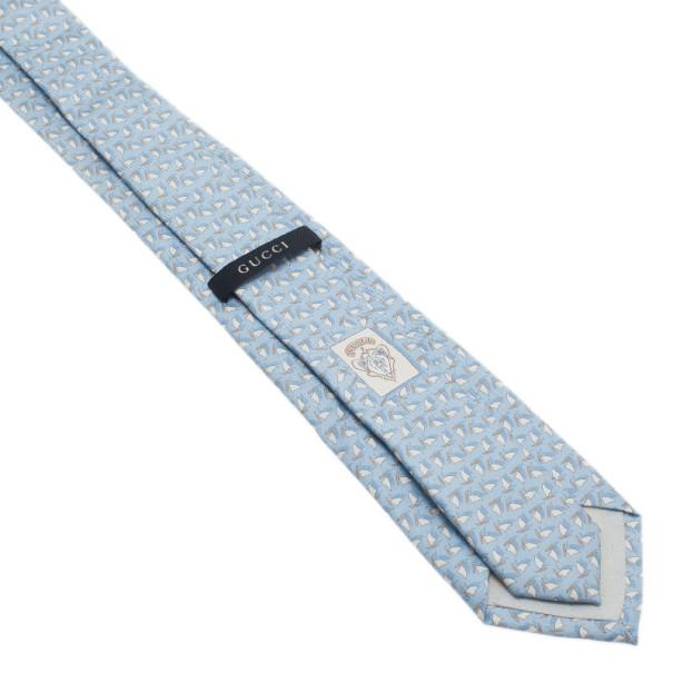 Gucci Light Blue Printed Silk Tie