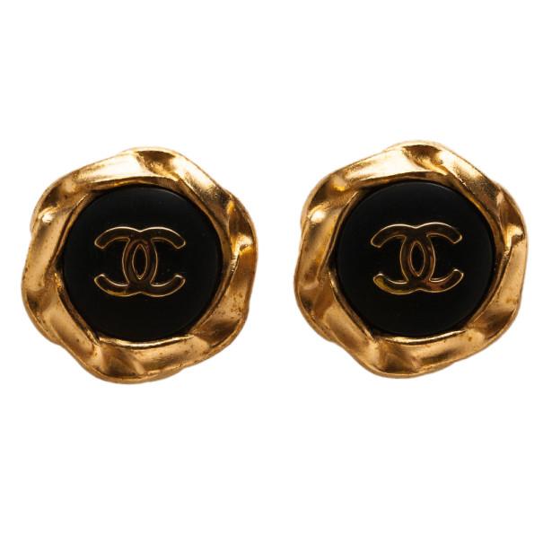Chanel Vintage CC Enamel Gold-Tone Clip On Earrings