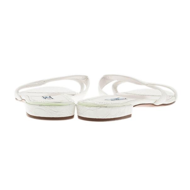 Prada White Croc Embossed Leather Flat Slides Size 40