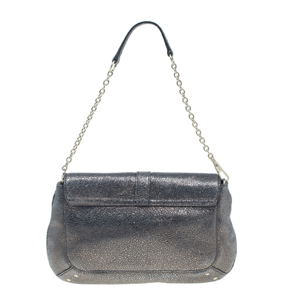 Saint Laurent Paris Silver Crackled Leather Vintage Clutch Shoulder Bag