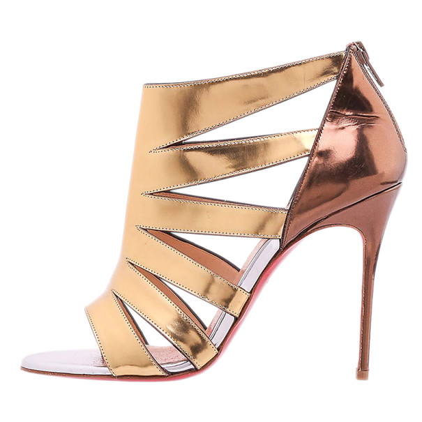 Christian Louboutin Gold Metallic Leather Beauty K Cage Sandals Size 38