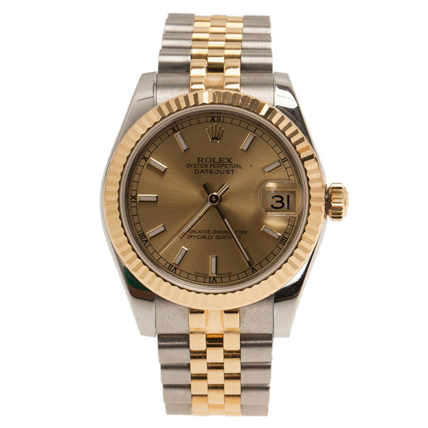 Rolex Gold 18K Yellow Gold & Stainless Steel Perpetual Datejust Women's Wristwatch 30MM