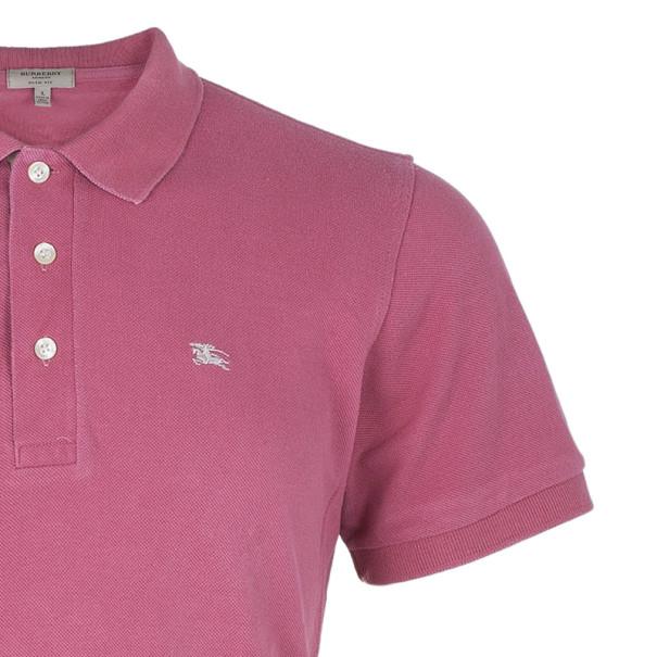 Burberry London Mens Pink Slim Fit Polo T-Shirt L