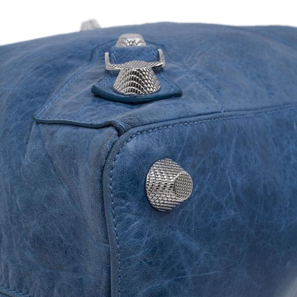 Balenciaga Blue Leather Giant Velo Tote