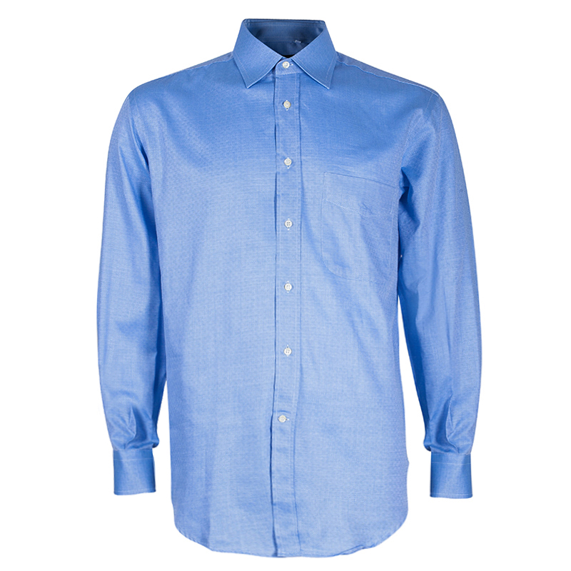 Fendi Men's Light Blue Cotton Shirt M