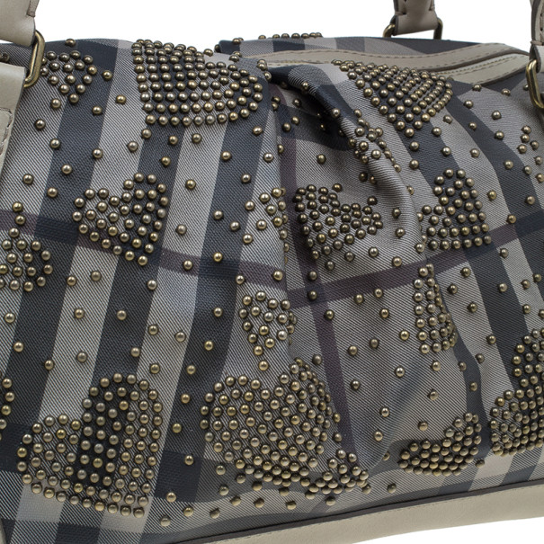 Burberry Grey Leather Heart Studded Satchel