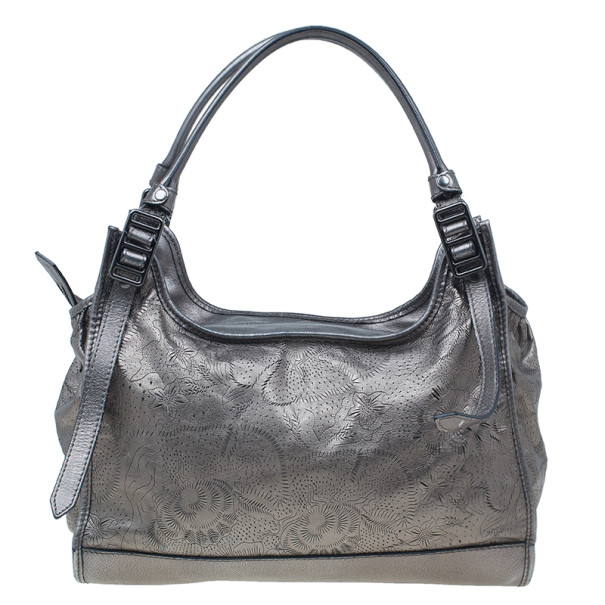 Burberry Metallic Grey Leather Degrade Lace Large Avondale Bag