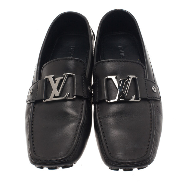 Louis Vuitton Black Leather Monte Carlo Loafers Size 40