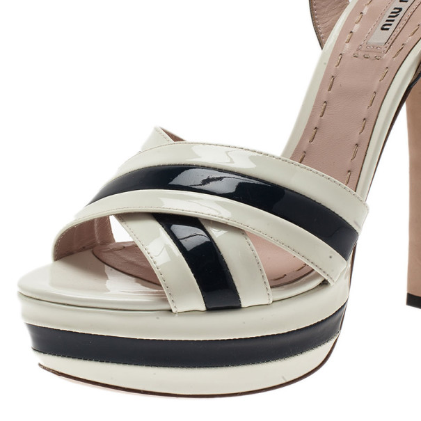 Miu Miu Black and White Patent Leather Platform Sandals Size 39