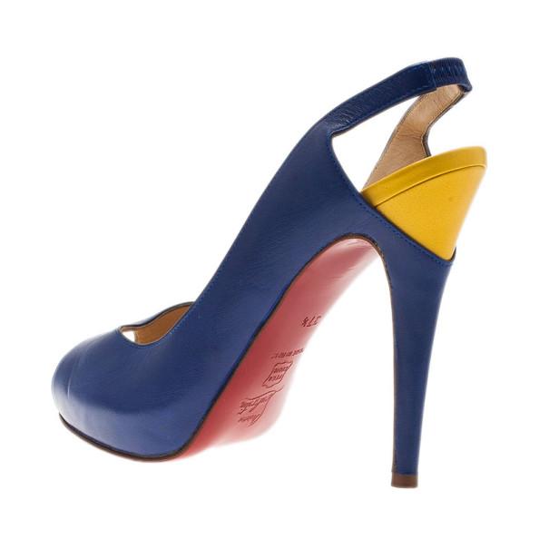 Christian Louboutin Two Tone Leather Architek Slingback Sandals Size 37.5