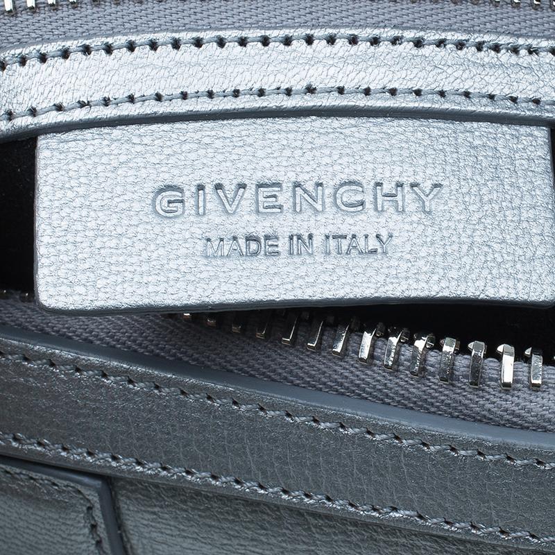 Givenchy Silver Leather Mini Lucrezia Duffel Bag
